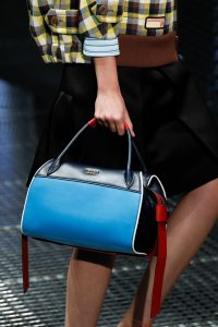 Prada Black/Blue/Red Top Handle Bag - Spring 2017