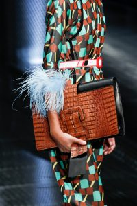 Prada Black/Brown Crocodile Oversized Clutch Bag - Spring 2017
