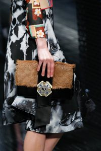 Prada Black/Brown Leather/Fur Clutch Bag - Spring 2017
