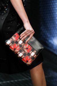 Prada Black/Brown/Red Floral Printed Clutch Bag - Spring 2017
