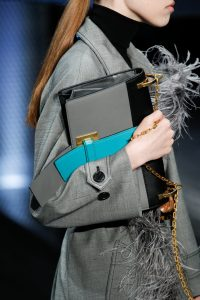 Prada Black/Gray/Turquoise Flap Bag - Spring 2017