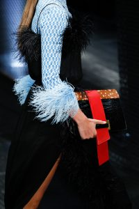 Prada Black/Red/Brown Deerskin/Crocodile Clutch Bag - Spring 2017