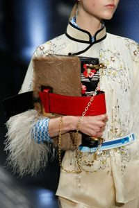 Prada Black/Red/Brown Floral Printed/Fur/Crocodile Flap Bag - Spring 2017