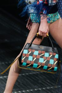 Prada Black/Turquoise Printed Top Handle Bag - Spring 2017