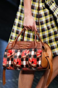 Prada Brown Floral Printed and Crocodile Top Handle Bag - Spring 2017