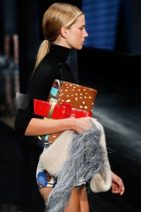 Prada Brown/Red Deerskin/Crocodile/Printed Clutch Bag - Spring 2017