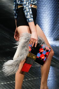Prada Red/Black/Blue Printed with Fur Clutch Bag - Spring 2017