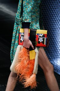 Prada Yellow/Black/Red Floral Printed Clutch Bag - Spring 2017