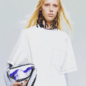 Proenza Schouler White Whipstitch with Print Hex Bucket Bag 2