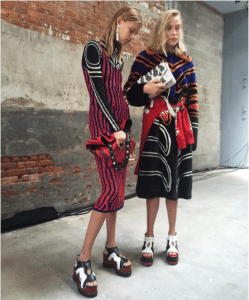 Proenza Schouler Red Hex Bucket Bag and White Hava Chain Bag