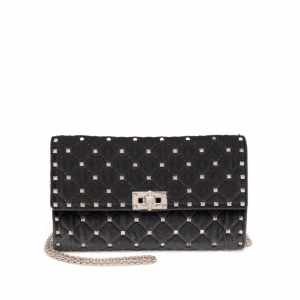 Valentino Black Suede Rockstud Spike Mini Bag