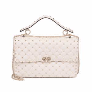 Valentino Ivory Rockstud Spike Medium Bag