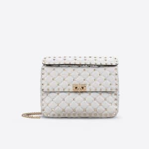 Valentino Light Grey Rockstud Spike Medium Bag