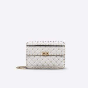 Valentino Light Grey Rockstud Spike Small Bag