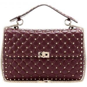 Valentino Maroon Rockstud Spike Bag