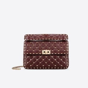 Valentino Maroon Rockstud Spike Medium Bag