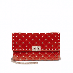 Valentino Red Suede Rockstud Spike Mini Bag