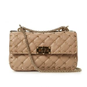Valentino Rose Beige Rockstud Spike Small Bag