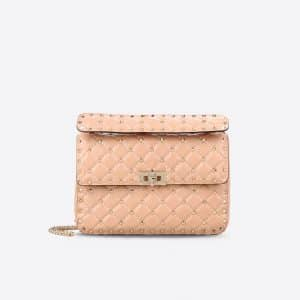Valentino Sand Rockstud Spike Medium Bag