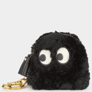 Anya Hindmarch Black Shearling Ghost Coin Purse