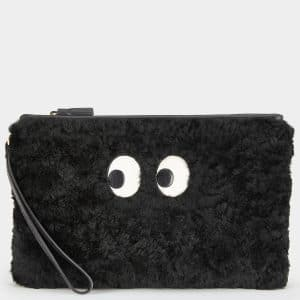 Anya Hindmarch Black Shearling Pac-Man Ghost Pouch Bag