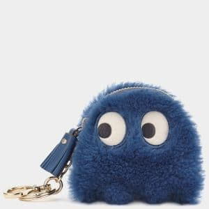 Anya Hindmarch Blueberry Shearling Ghost Coin Purse