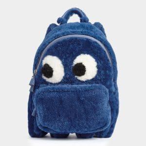 Anya Hindmarch Blueberry Shearling Ghost Mini Backpack Bag