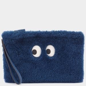 Anya Hindmarch Blueberry Shearling Pac-Man Ghost Pouch Bag