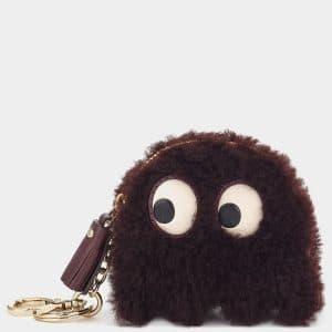 Anya Hindmarch Burgundy Shearling Ghost Coin Purse