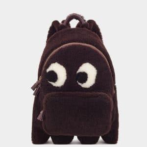 Anya Hindmarch Burgundy Shearling Ghost Mini Backpack Bag
