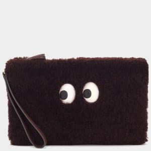 Anya Hindmarch Burgundy Shearling Pac-Man Ghost Pouch Bag