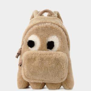 Anya Hindmarch Natural Shearling Ghost Mini Backpack Bag