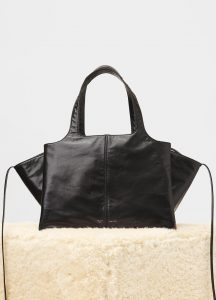 Celine Black Paperweight Calfskin Tri-Fold Medium Shoulder Bag