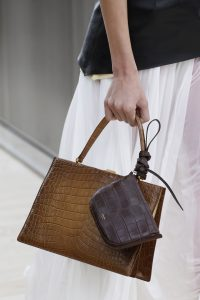 Celine Brown Crocodile Top Handle Bag with Mini Crocodile Pouch - Spring 2017