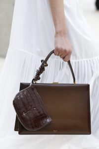 Celine Brown Top Handle Bag with Mini Crocodile Pouch - Spring 2017