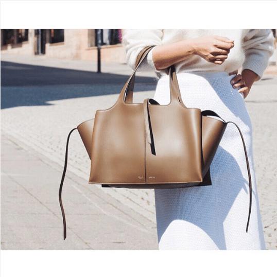 58d33f2b1806 Celine Taupe Tri-Fold Medium Shoulder Bag 2. IG  bungalow.store