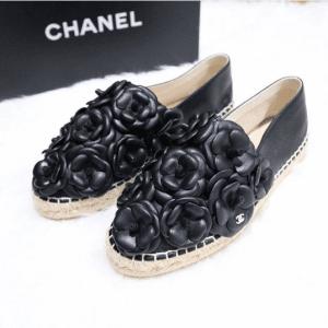 Chanel Black Camellia Espadrilles