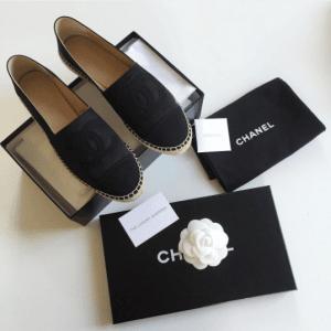 Chanel Black Satin Espadrilles