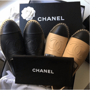 Chanel Black and Beige Leather Espadrilles