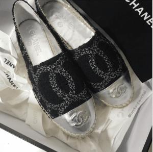 Chanel Black/Silver Tweed/Leather Espadrilles