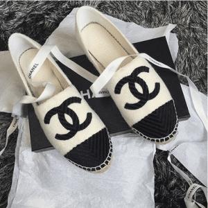Chanel Black/White Fabric Espadrilles