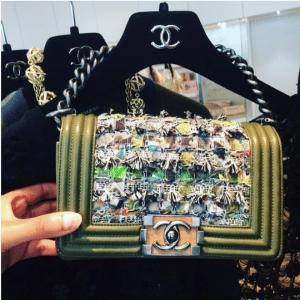 Chanel Green Multicolor Tweed Boy Bag