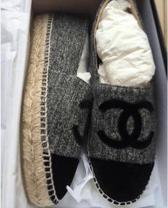 Chanel Grey/Black Tweed/Velvet Espadrilles