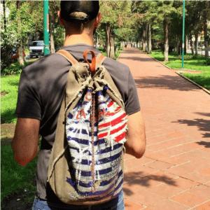 Chanel Khaki Toile Sequined Backpack Bag