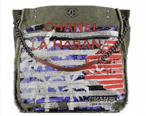 Chanel Khaki Toile Sequined Tote Bag