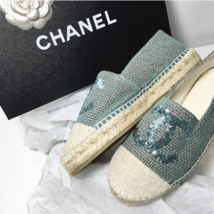 Chanel Light Blue Tweed and Sequin Espadrilles