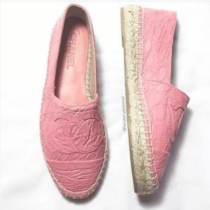 Chanel Pink Crocodile Espadrilles