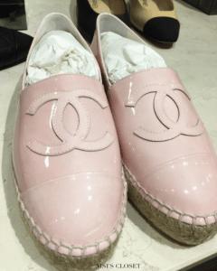 Chanel Pink Patent Espadrilles