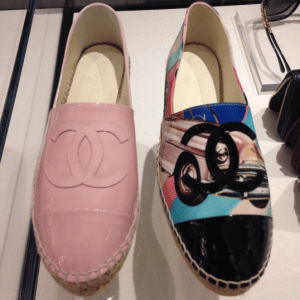 Chanel Pink Patent and Cuba Print Espadrilles
