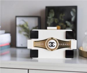 Chanel White/Black Paris Habana Lego Clutch Bag